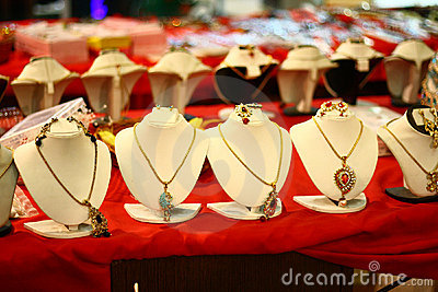 White Mannequins with Indian Designer Necklaces