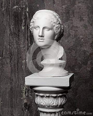 Free White Marble Head Of Young Woman Stock Photo - 55736570