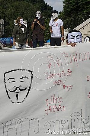 White Mask Movement Rally Editorial Stock Photo