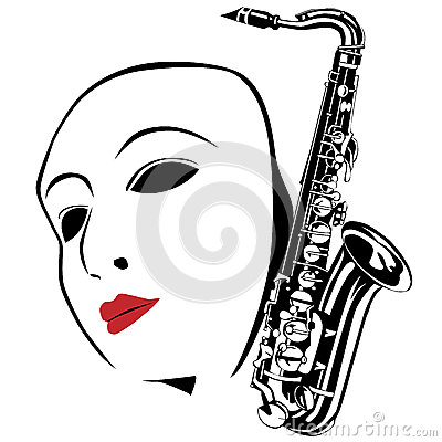 White mask and saxophone