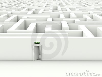 White maze with enter door
