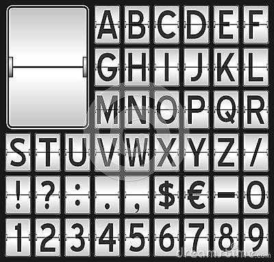 White Mechanical Scoreboard Alphabet