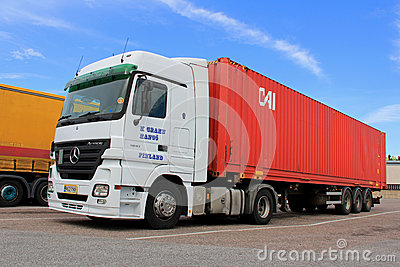 White Mercedes-Benz Actros Truck and Trailer Editorial Photo
