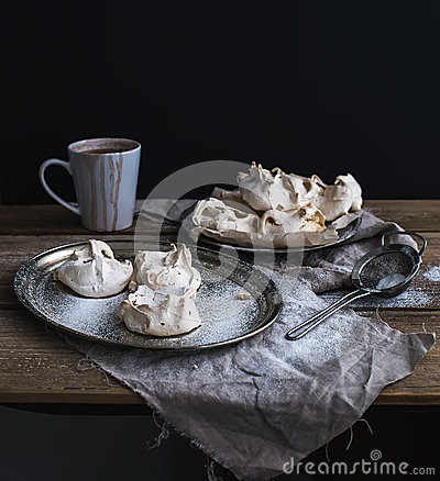 Free White Meringue And Mug Of Hot Chocolate On A Stock Photo - 52715680