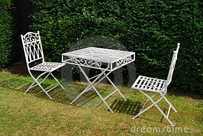 White metal garden furniture table and two chairs
