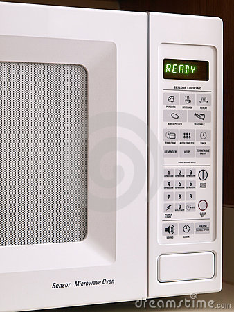 White Microwave oven partial view
