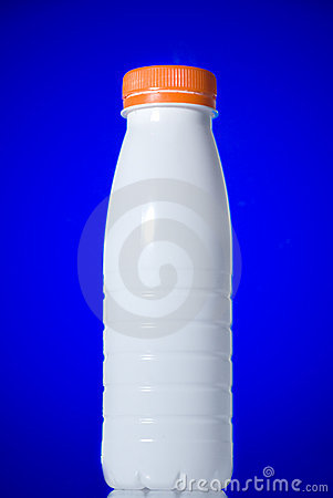 White milk bottle isolated
