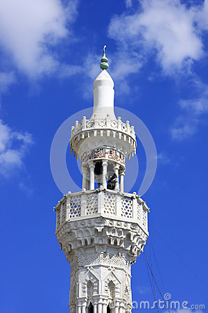 White minaret of Muslim masjed