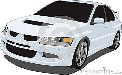 White Mitsubishi Evolution