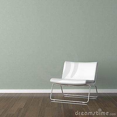 Free White Modern Chair On Green Wall Stock Images - 11299774