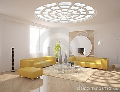 White modern design interior