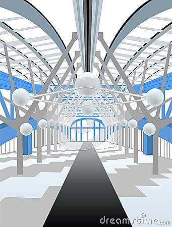White modern interior corridor