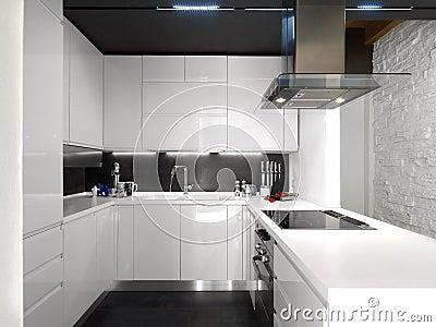 White modern kitchen with steel appliances stock image - Cuisine blanc laque avec ilot ...