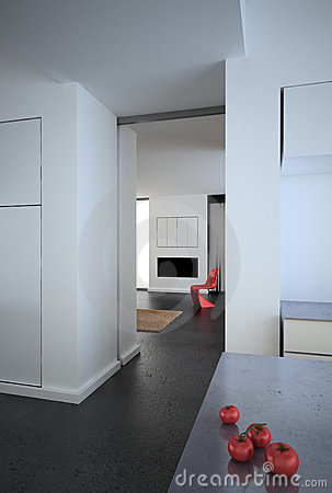 White modern minimalist loft