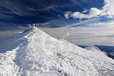 White mountain in winter time, Carpathian lanscape