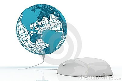 White mouse connected to the world