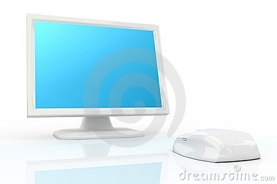 White mouse and white monitor