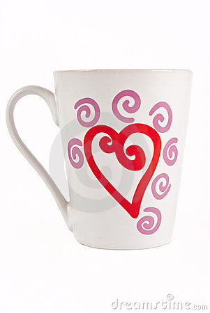 White mug with red heart