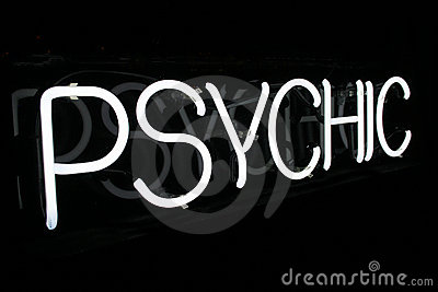White Neon Psychic Sign 1 Stock Images - Image: 17807854