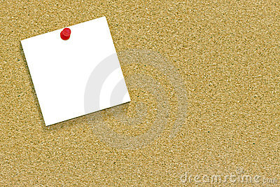 White note on a cork noticeboard