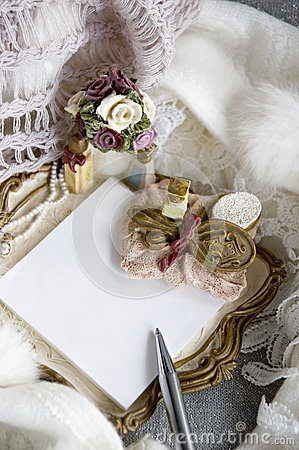 White note pad in romance