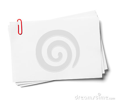 White note papers with red clip.