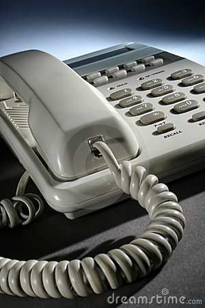 White Office Desk Telephone with Coiled Phone Cord