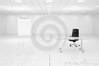 White office room with flipchart