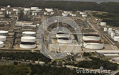 White oil storage tanks
