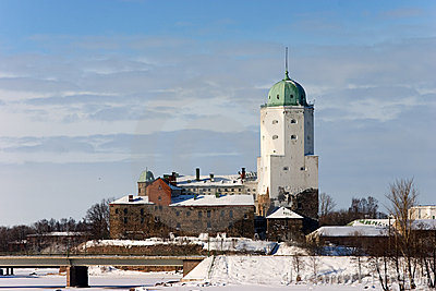 White old tower over winter town