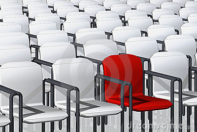 White and one red chairs