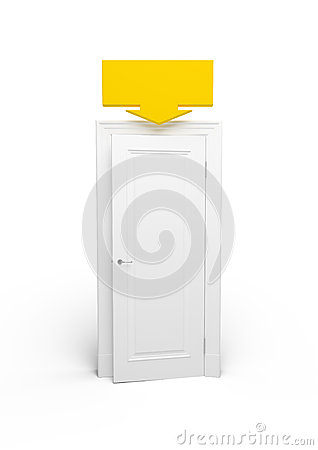 White open door with a yellow arrow