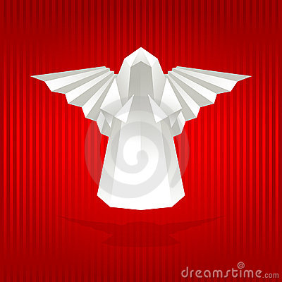 White origami angel.