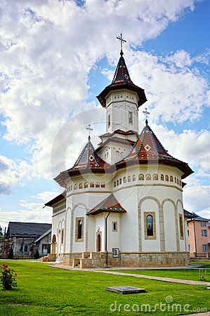 White orthodox Romanian church facade