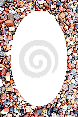 White oval photo frame coastal stonnies background