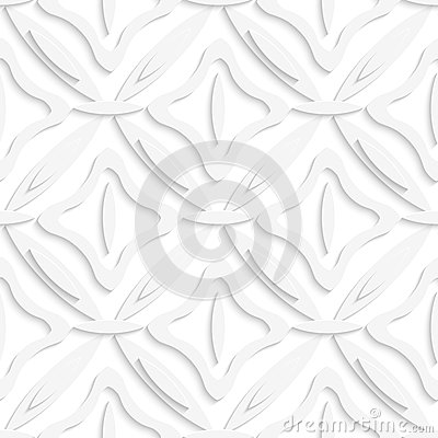White ovals layered and squares seamless pattern