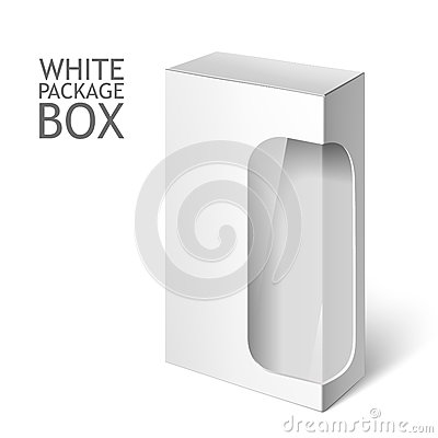 Free White Package Box With Window. Mockup Template Royalty Free Stock Images - 62437729