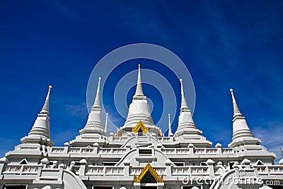 White pagodas at Wat Asokaram, Samut Prakan