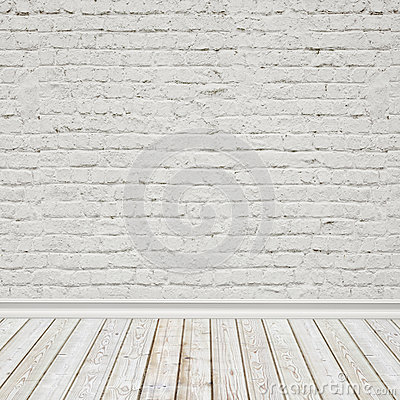 Free White Painted Brick Wall And Vintage Wooden Floor, Interior Background Royalty Free Stock Photo - 46999115
