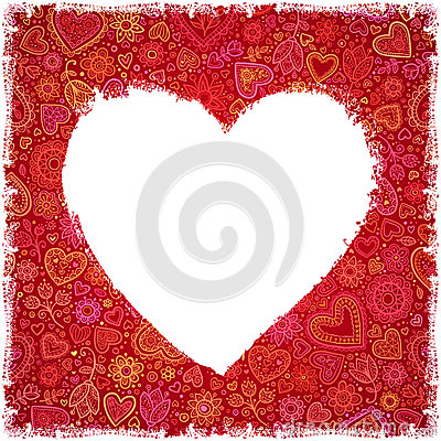 White painted heart on red ornate background