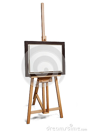 Free White Painter Canvas In Frame On Wooden Easel With Clipping Path Stock Images - 64543174