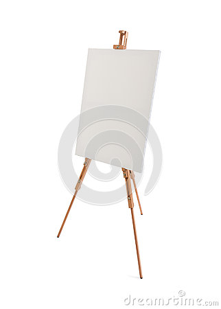 Free White Painter Canvas On Wooden Easel Isolated On White Stock Photography - 60959962