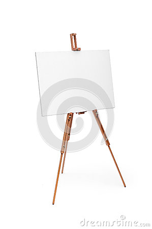 Free White Painter Canvas On Wooden Easel Isolated On White With Clip Stock Images - 61537744