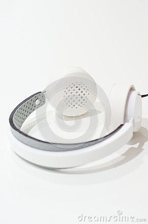 White pair of headphones Stock Photo