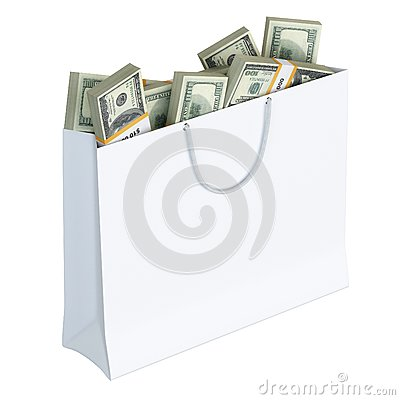 White paper bag full of money