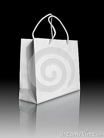 White paper bag on reflect floor