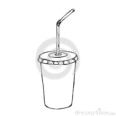White Paper Cup with Lid and Straw, Glass for Beverage Takeaway. Vector Illustration Isolated On a White Background Vector Illustration
