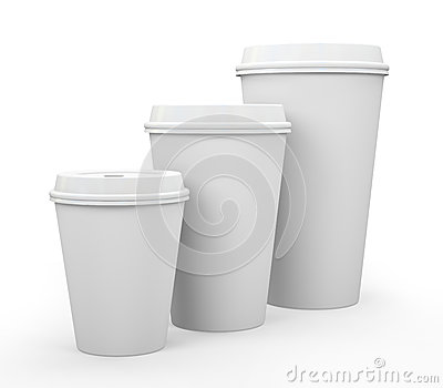 White paper cups of coffee
