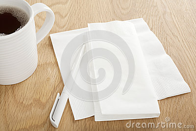 White Paper Dinner Napkin and Pen for Making Notes
