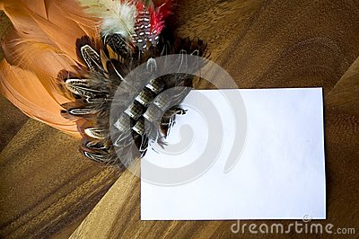 White paper note with decoration